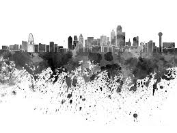 dallas skyline painting dallas skyline in black watercolor on white background by pablo romero