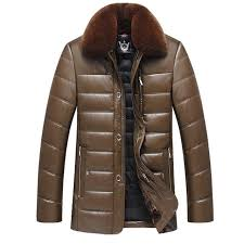 thick detachable fur collar winter leather jacket