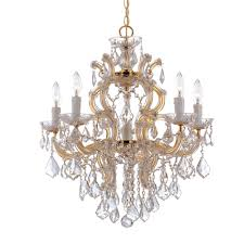 crystorama maria theresa 6 light clear crystal gold chandelier i
