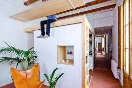 Think Vertical: Space-Savvy Kitchen and Mezzanine in Small Barcelona  Apartment