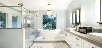 three quarter bathtub craftsman 3 4 bathroom with vessel sink wall sconce partial three quarter round