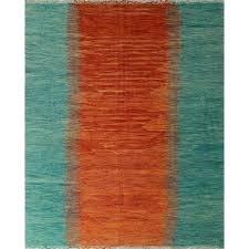 clean rag rug orange and green