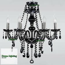 full crystal chandeliers 6 lights fixture ceiling light black crystal