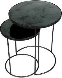 notre monde nesting side table set van 2 charcoal