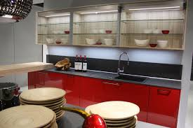 glass kitchen cabinets red design