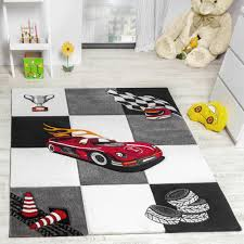 kids rug racing car design for boys in contour cut grey cream black
