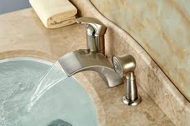 roman tub faucets brushed nickel waterfall bathtub mixer faucet set with hand held shower deck mount
