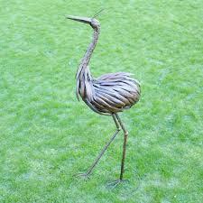 metal crane standing garden ornament