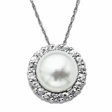 10 0mm cultured freshwater pearl and white topaz pendant in sterling silver