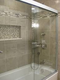 Tile accent idea for B. Bath- Love this tub.tile, accents, and doors. This  would work for your bathroom, window would be where the indent is