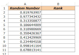 Unique Random Numbers in Excel RANK function