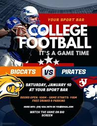 College Football Flyer Party Templates For Clubs Business Marketing ...