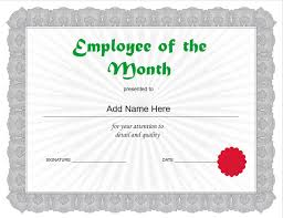 Employee Of The Month Certificate Templates Employee Of The Month Template Cyberuse