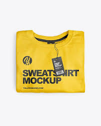 Mockups, print templates, psd templates. Folded Sweatshirt Mockup Top View In Apparel Mockups On Yellow Images Object Mockups Clothing Mockup Shirt Mockup Sweatshirts
