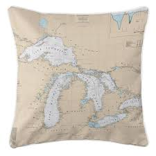 Great Lakes Navigation Charts Nautical Chart Pillow Great Lakes