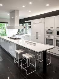 black and white tile floor. Huge Contemporary Open Concept Kitchen Photos - Galley Porcelain Floor Black And White Tile N