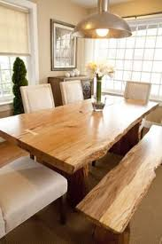 live edge wood table great exle of a live edge dining table matching benches in use