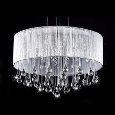 sheer silver organza drum shade large pendant hanging clear crystal beads and teardrops