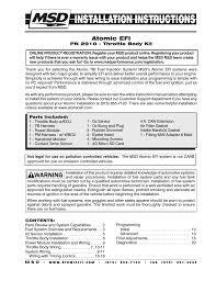 msd atomic efi master kit installation user manual pages