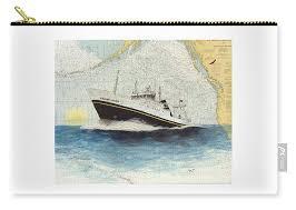 Boat Chart Golden Alaska Factory Trawl Fishing Boat Nautical Chart Map Art Carry All Pouch