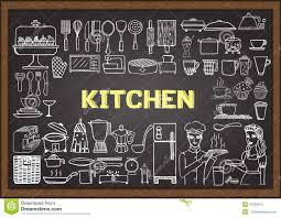 Chalkboard Kitchen Hand Drawn Kitchen Equipment On Chalkboard Doodles Or Elements
