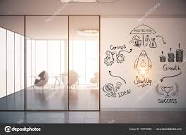 bright office. Bright Office Interior With Equipment And Creative Business Sketch On Poster. Toned Image. Startup Concept. 3D Rendering \u2014 Photo By Peshkova