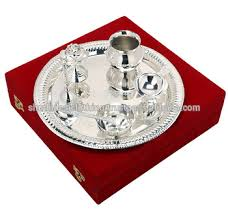 silver plated puja thali pooja accessories diwali gift item of br