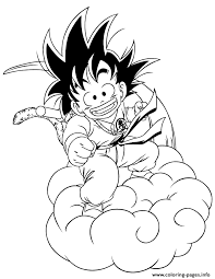 Small Picture dragon ball z kid goku riding cloud coloring page Coloring pages