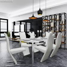 6 Sillas De Comedor Diseño Estilizado De Cuero Sintético Blanco