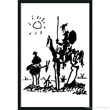 2018 canvas wall art prints abstract oil painting master pablo picasso simple line drawing famous figure don quixote for louis aragon from grcoilpainting