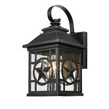 Laredo Texas Star Outdoor Black Medium Wall Lantern - Black exterior light fixtures