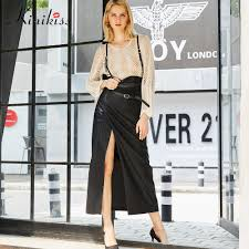 kinikiss women fashion faux leather skirts jpg