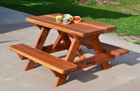Best Picnic Table Designs Kid Size Wood Picnic Table With Attached Benches Forever