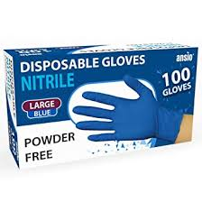 <b>Nitrile</b> Gloves Blue Powder free & disposable Large <b>Pack of 100</b> ...