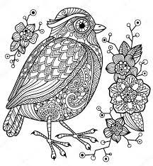 Kleurplaat Met Een Vogel En Bloemen Stockvector Tenkanu