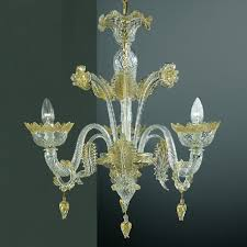 casanova 3 lights murano chandelier with rings transpa gold color