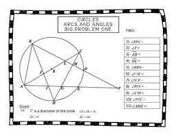 Questions on chord and cyclic quadrilaterals. Geometry Circles Arcs And Angles Big Problems Angles Worksheet High School Math Worksheet Template