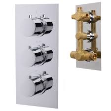 concealed thermostatic shower mixer valve chrome triple control diverter round