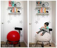 exercise ball before and after