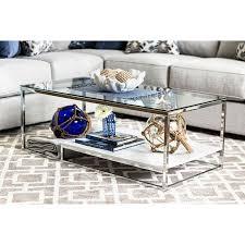 vendi white chrome coffee table