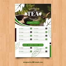 Tea Menu Template Vector Free Download
