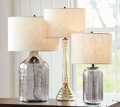 alana er glass jug table lamp base indigo pottery barn