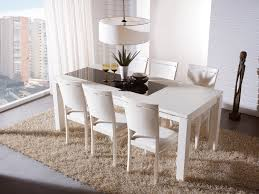white farm table. White Dining Room Set With Leather Chairs Wooden Base And Rectangular Table Farm