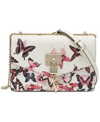 dkny women s white elissa leather erfly print shoulder bag created for macy s