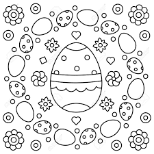 Easter Wreath Coloring Page Vector Illustration Stock Photo