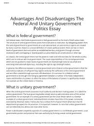 advantages and disadvantages the federal and unitary government advantages and disadvantages the federal and unitary government politics essay pdf federation political science