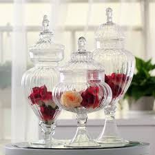 Decorative Glass Jars With Lids Transparent glass jar with a lid candy jar large food storage tank 54