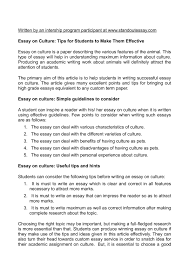 essay on culture tips for students to make them effective