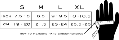 Driving Glove Size Chart Black Size X Large