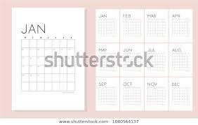 Simple Twelve Month Calendar Clean Design Stock Vector